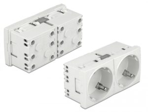 DELOCK διπλό module πρίζας ρεύματος Easy 45 81325