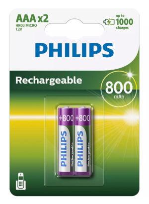 PHILIPS επαναφορτιζόμενη μπαταρία R03B2A80 800mAh