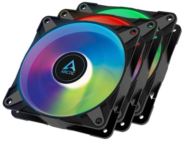 Arctic P12 PWM PST A-RGB - 3 Case Fans 0dB 120mm Pressure optimized PWM controlled speed with PST-A - ACFAN00232A